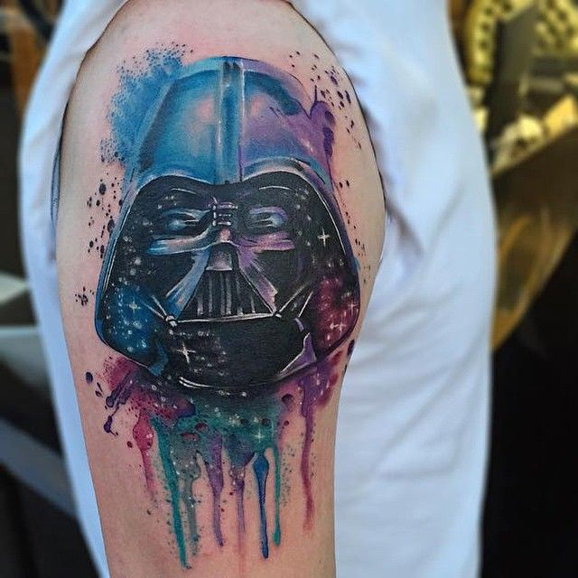 Amazing watercolor Darth Vader Tattoo by Jason