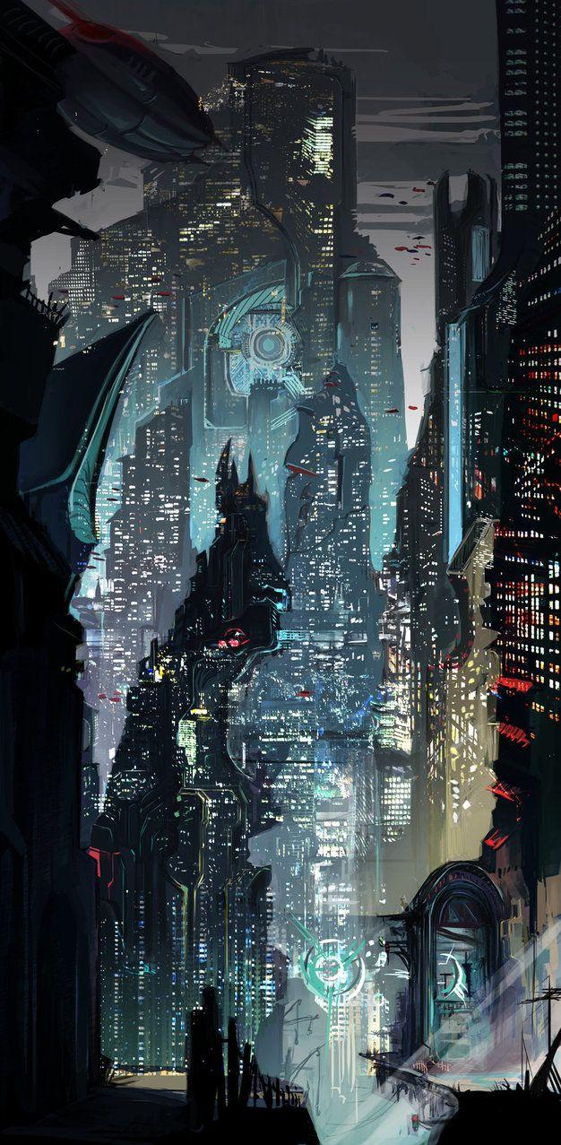 Sci-Fi Concept Metropolis | Cyberpunk, Cyber City, Futuristic Architecture, Future City by weebasaurus