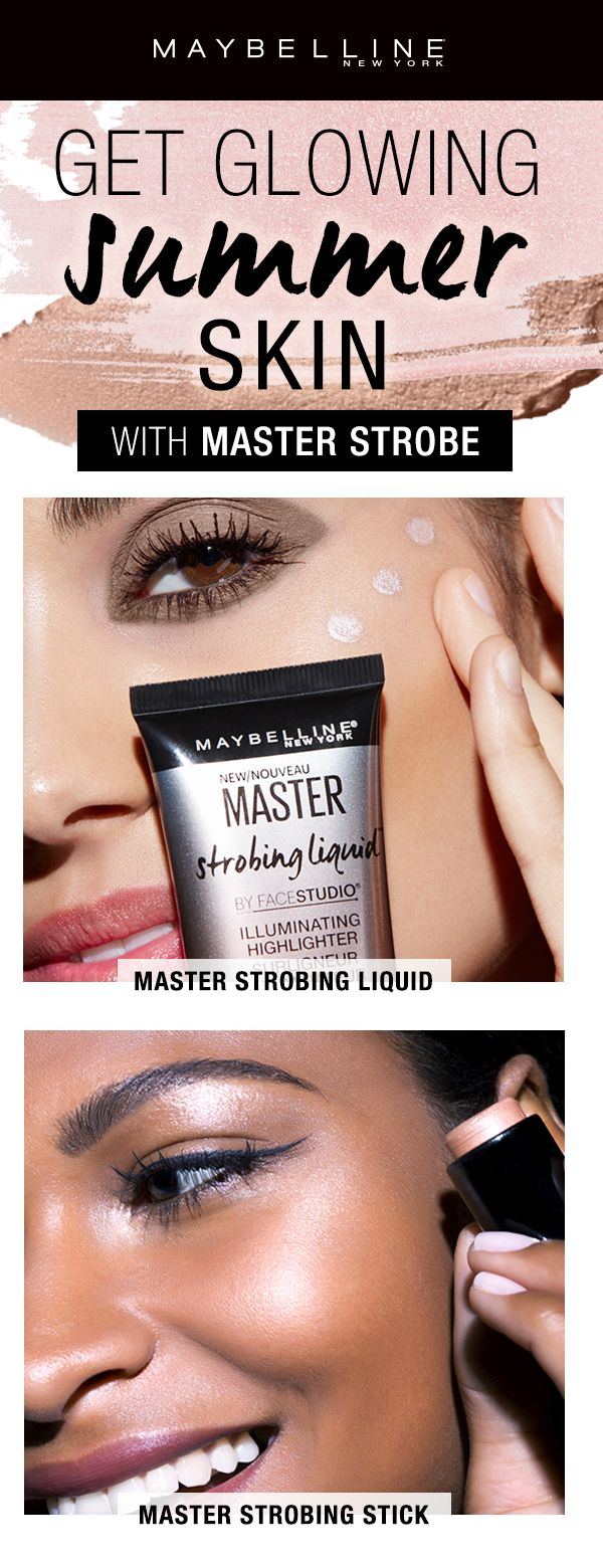 Get glowing, gorgeous summer skin with the Maybelline Master Strobe family.  The Master Strobing Liquid is a liquid highlighter you can mix into your foundation for an all over glow or pat onto areas for a targeted highlight.  The Master Strobing Stick is a cream highlighter that blends easily and smoothly.