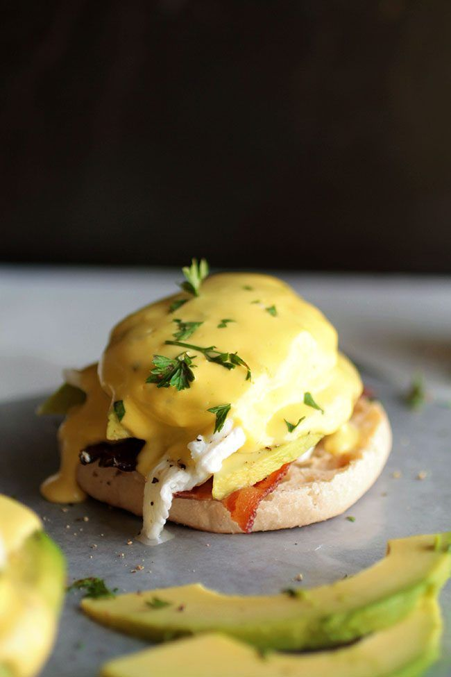 Avocado Eggs Benedict with Bacon and Goat Cheese