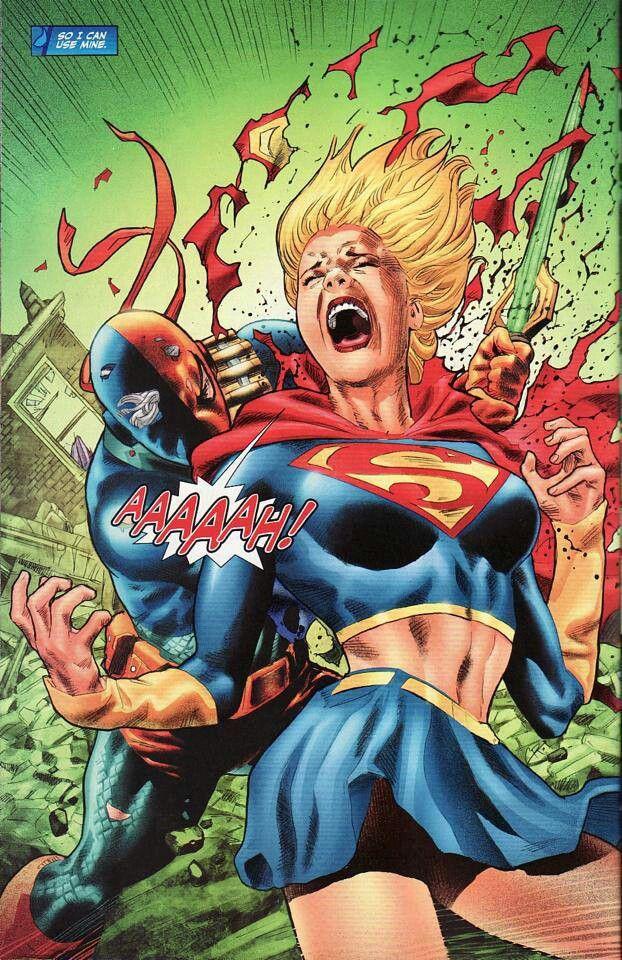 Deathstroke with kryptonite sword vs Supergirl