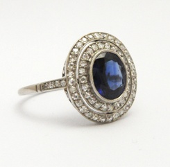 A Platinum Set Natural Sapphire and Diamond Ring, circa 1920s. From Anthea AG Antiques.