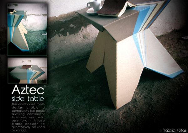flat pack cardboard side table on Behance