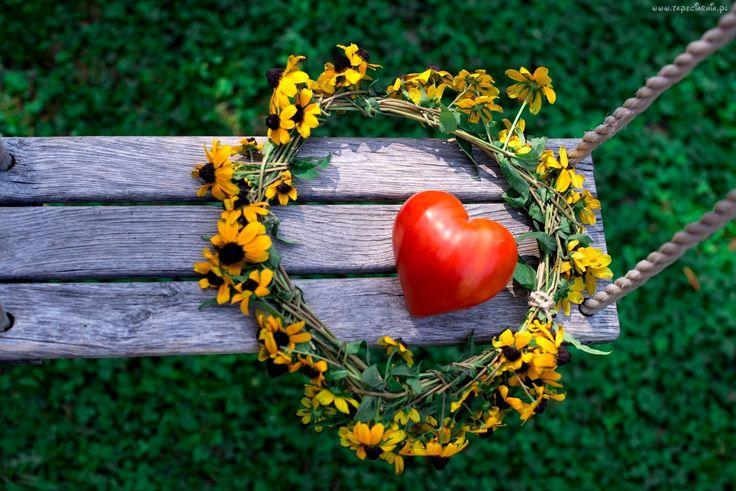 Huśtawka, Pomidor, W, Kształcie, Serca, Wianek, Z, Żółtych, Kwiatów