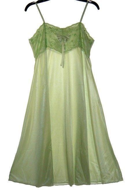 L.Green BOW SATIN LACE SLEEVELESS WOMENS NIGHTGOWN SLEEPWEAR #9007- Sz XL
