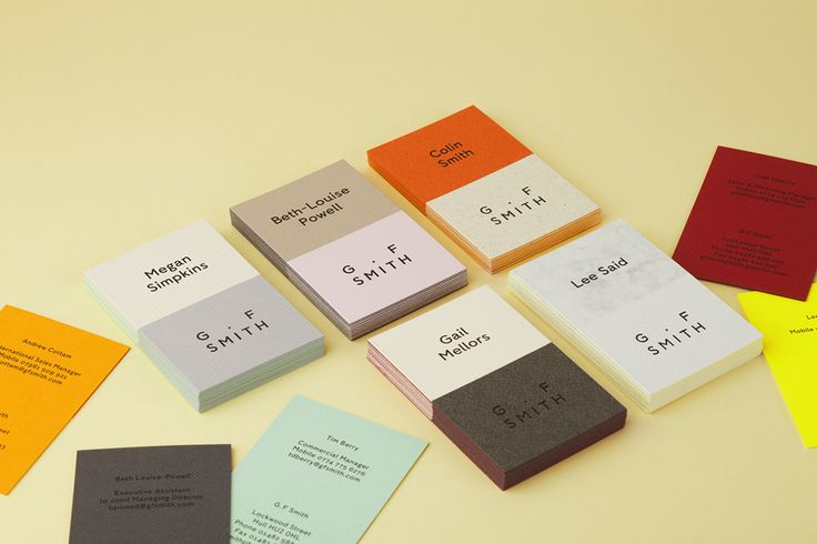 Mixed paper business cards designed by Made Thought for British paper merchant G . F Smith
