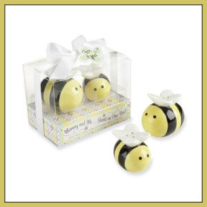 Kate Aspen, Mommy And Me, Sweet As Can Bee, Honeybee Ceramic Salt and Pepper Shakers. Use these sweet, ceramic salt and pepper shakers as a guest gift at a baby shower. They are small, mom honeybee measures approximately 1 3/4″ h x 1 1/2″ w x 2″ and  Baby honeybee measures approximately 1 1/4″ h x 1 1/4″ w x 1 5/8″ l. http://theceramicchefknives.com/ceramic-salt-pepper-shakers/