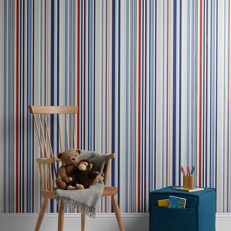 Kids Striped Wallpaper Home Safe Holden Decor Paige Blue Red White