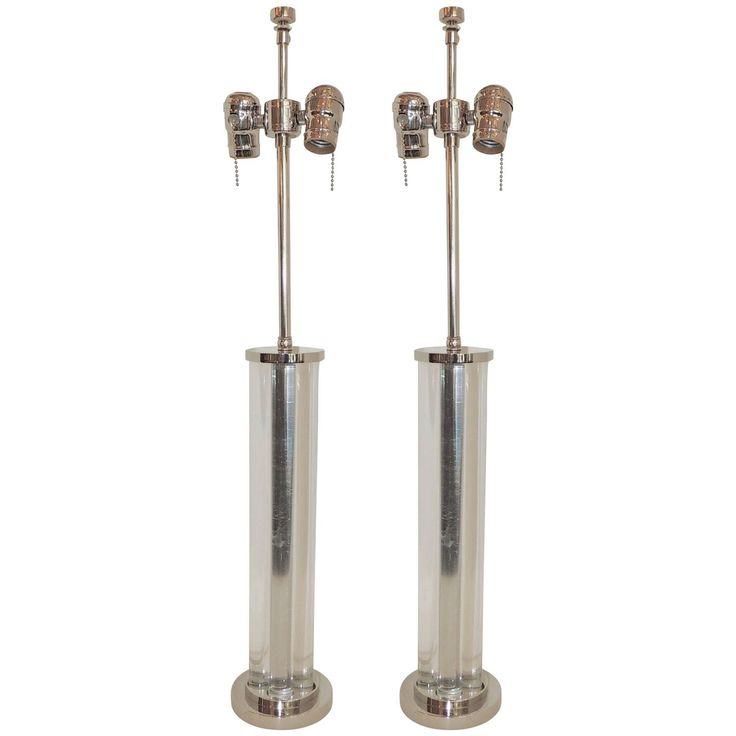 Wonderful Deco Glass & Nickel Chrome J Robert Scott Modern Transitional Lamps