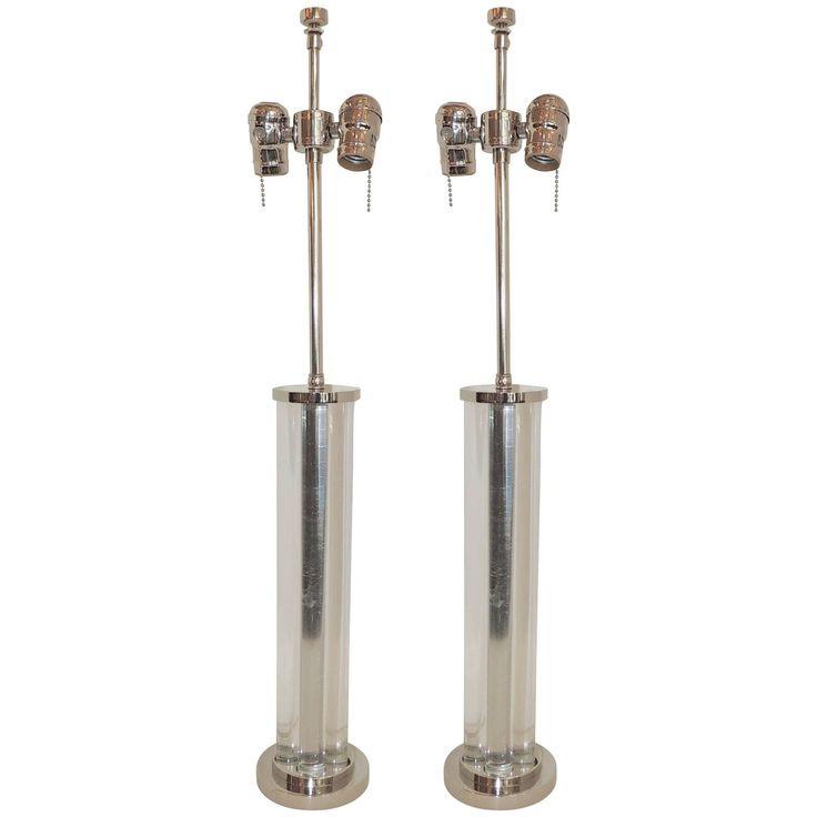 Wonderful Deco Glass & Nickel Chrome J Robert Scott Modern Transitional Lamps