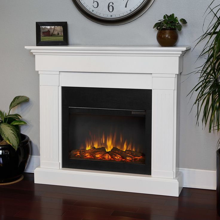 Real Flame - Crawford Slim Electric Fireplace-White, White