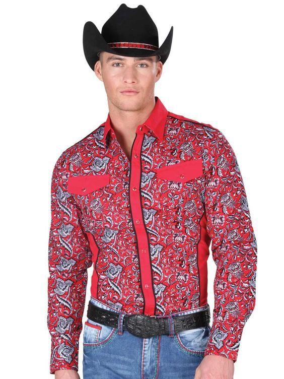34227 Camisa Vaquera Manga Larga De Hombre 'El General', 100% Cotton - Red