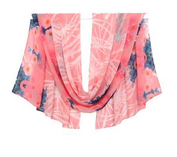 pink summer scarf, long pink scarf, chiffon scarf, summer scarf, silk scarf, spring scarf, blue flower scarf, silk chiffon scarf, blanket