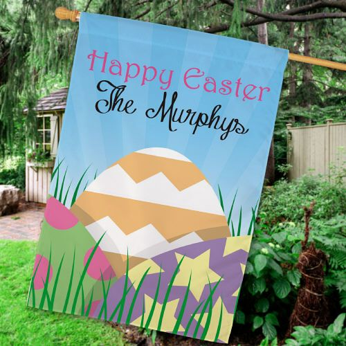 71 best easter decor apparel images on pinterest easter decor buy a personalized easter eggs house flag from giftsforyounow easter easterdecor negle Images