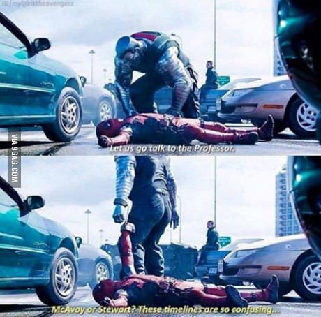 Deadpool breaking the fourth wall... like always.