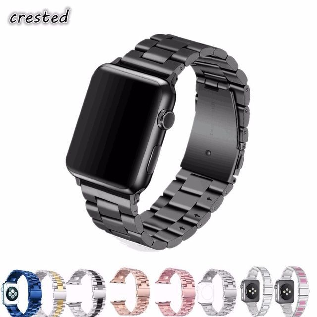 Flash Sale $7.51, Buy CRESTED strap band for apple watch 3 42mm 38mm for iwatch 3 2 1 Stainless Steel wrist band link bracelet Replacement Watchband