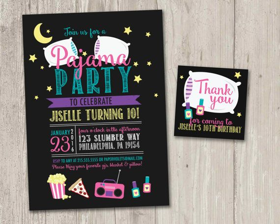 ► DIY printable Pajama Party invitations with FREE matching thank you card! { Pajama Party! } available in other colors! :: Stuff you probably want to know :: Size of invitation: 5 x…