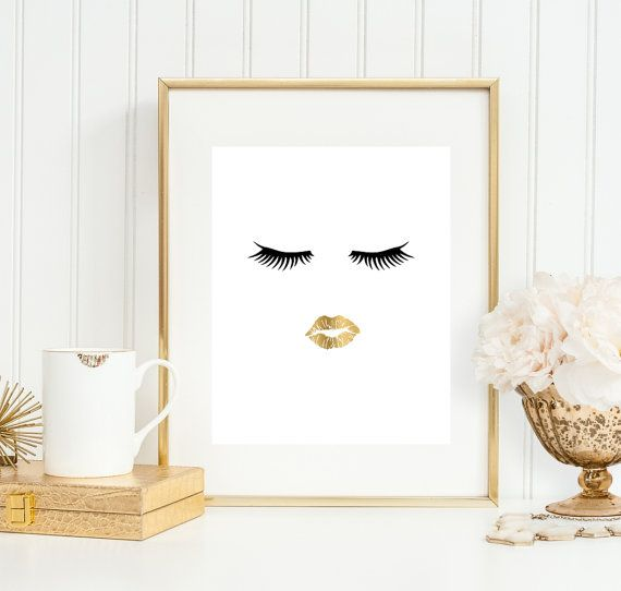 Bathroom Art Ideas Wall Print Makeup Lips Faux Gold Fashion Girly Decor Salon B In