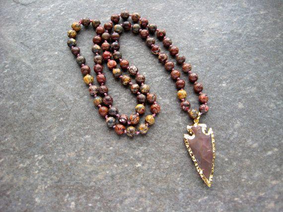 Jasper Arrowhead Necklace Hand Knotted Jasper by BeadBashStudio