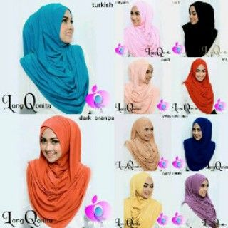Hijab/Jilbab Instant Long Qonita.  Bahan : spandek rayon