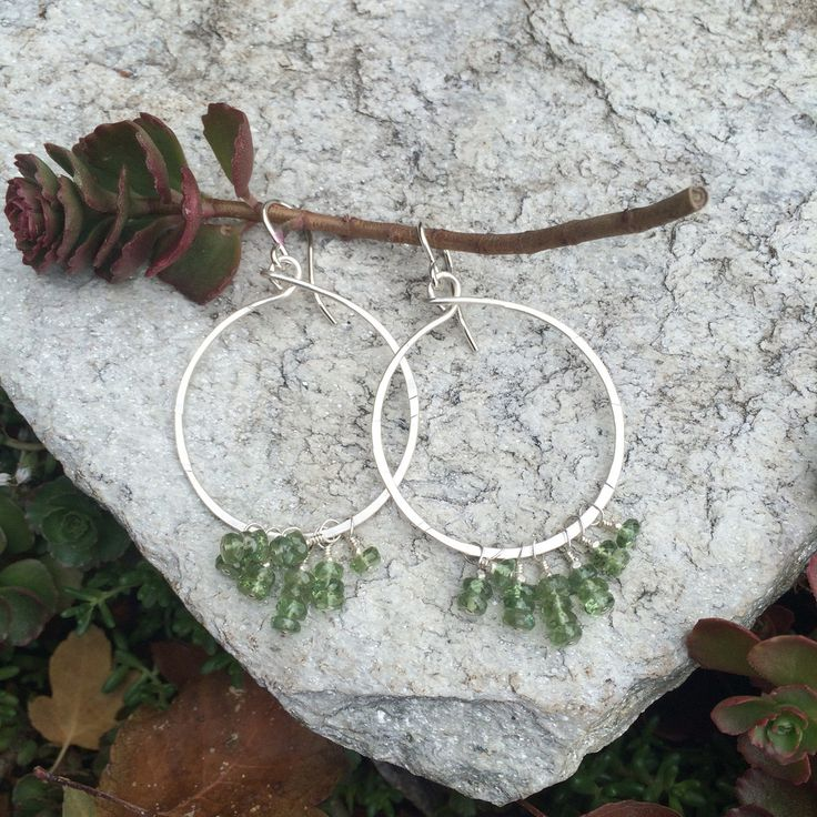 Stone Hoop Fringe Earrings