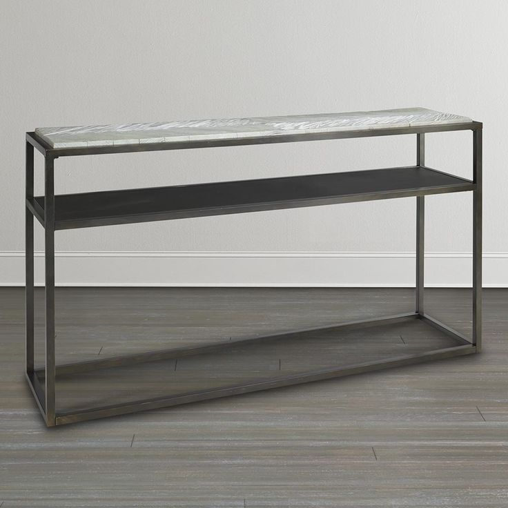 Great Room Console Table   Finley With Textured Iron Base And Weathered  Pine Top