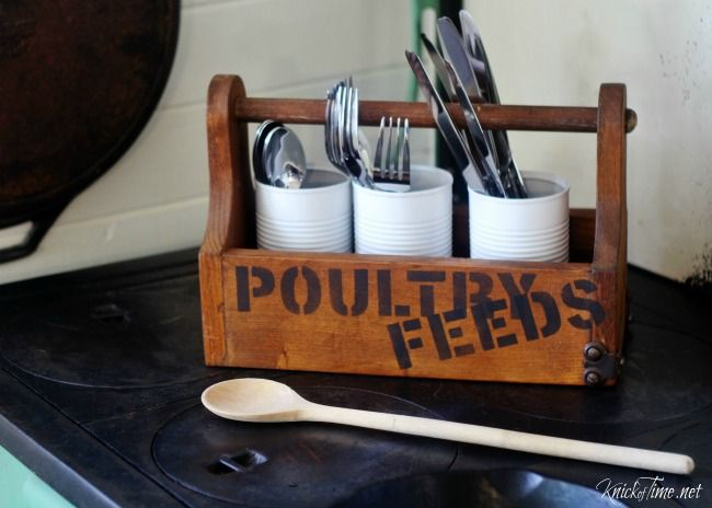 Old crate style flatware carrier using feed sack stencil, part of Knick of Time's Vintage Sign Stencils - KnickofTime.net