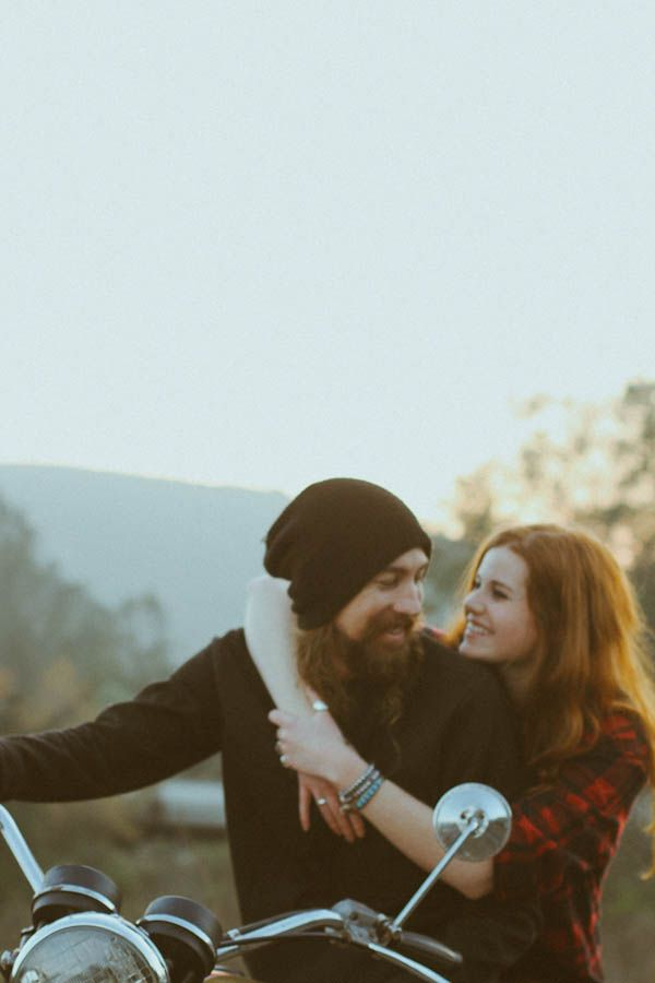 Woodland Motorcycle Engagement Shoot: Kate  Brandon