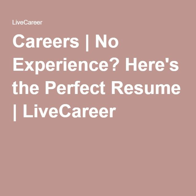 Careers | No Experience? Here'S The Perfect Resume | Livecareer