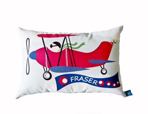 Ollie's Room Vintage Plane theme Personalised Cushion for Boys Decor