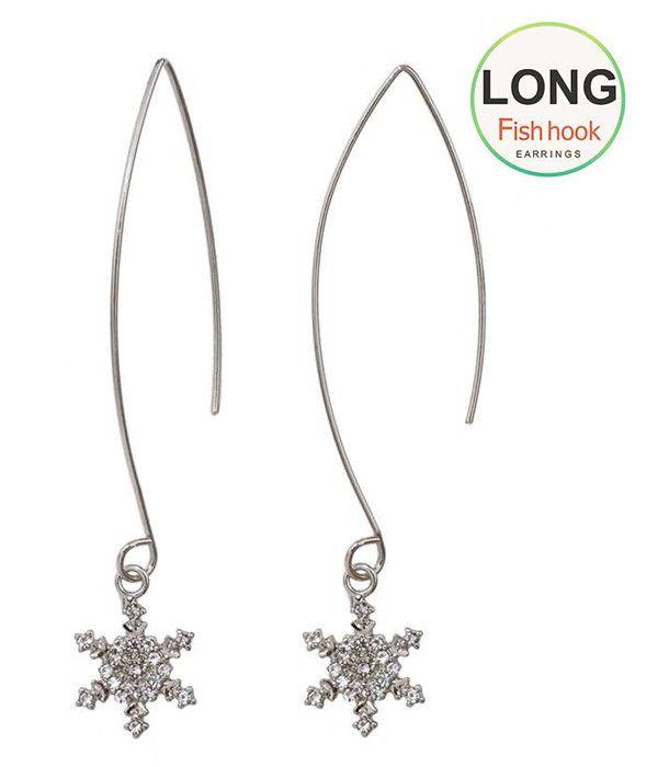 Crystal Snowflake long fish hook Earrings