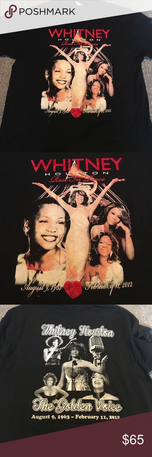 "WHITNEY HOUSTON MEMORIAL TEE Gently used tee honoring the late & great ""golden voice"" Whitney Houston. Double sided graphics. Bundle to save 💕 Alstyle Tops Tees - Short Sleeve"
