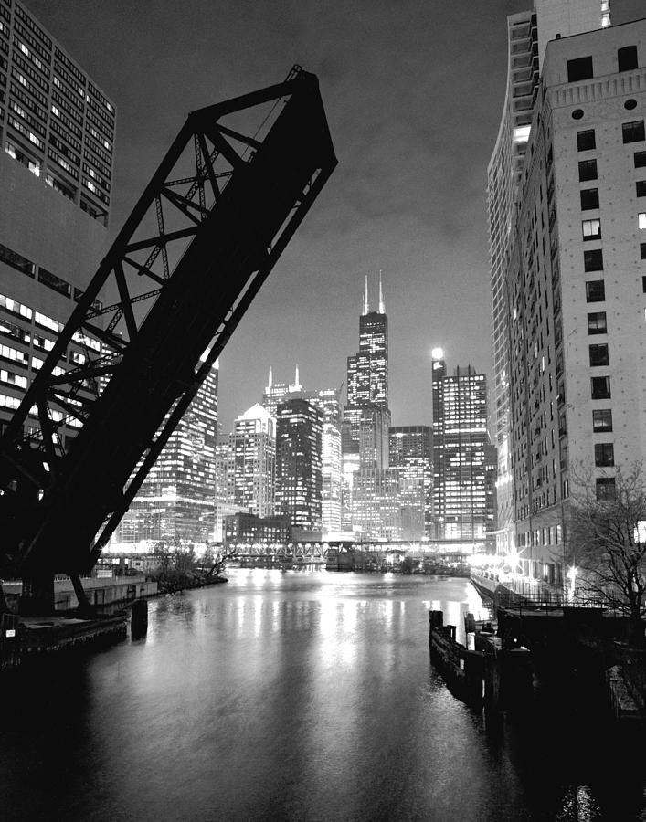 Chicago Skyline - Black And White Sears Tower Photograph