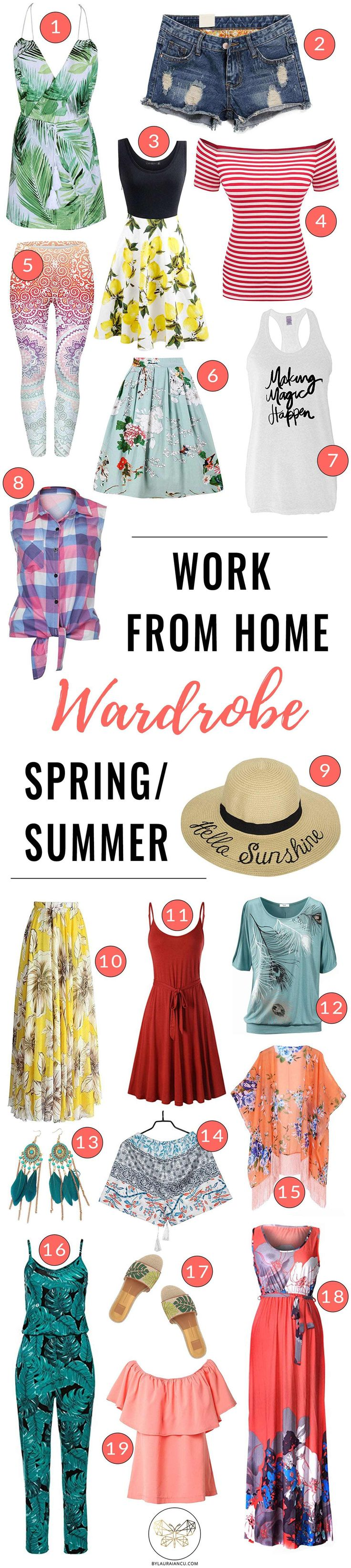 Casual work from home wardrobe ideas for warm weather (spring/summer fashion). LOVE these stylish outfit ideas. They serve as great inspiration for what to wear in my home office. Great tips for work from home women, bloggers, and stay at home moms.
