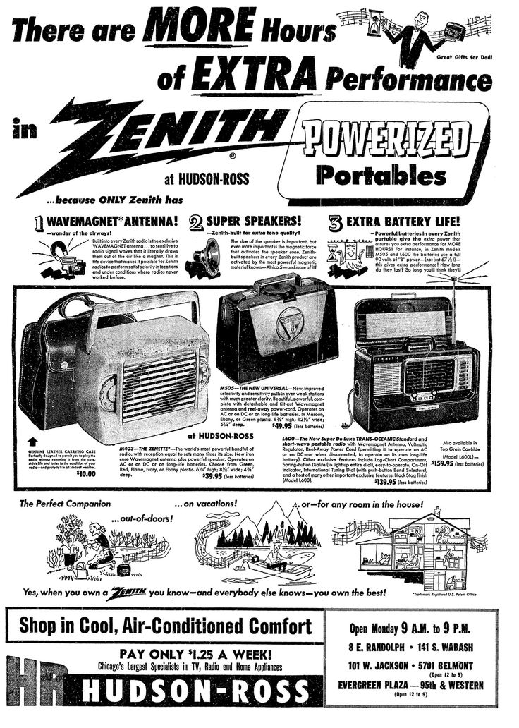 https://flic.kr/p/UKDceA | Vintage Advertising For The 1954 Zenith Portable Radios In The Chicago Illinois Tribune Newspaper, June 14, 1954