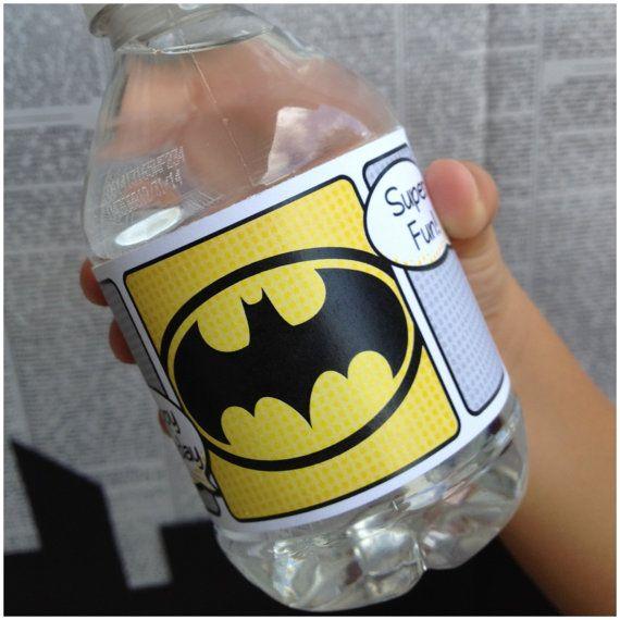 Superhero Collection. BATMAN ROBiN Water Bottle Labels. DIGITAL DOWNLOAD. DiY Printable Design. Pinkadot Shop