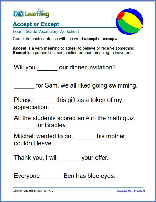 Grade 4 Vocabulary Worksheet On Using Accept Or Except In Sentences Vocabulary Worksheets Vocabulary Word Worksheet Transition Words Worksheet