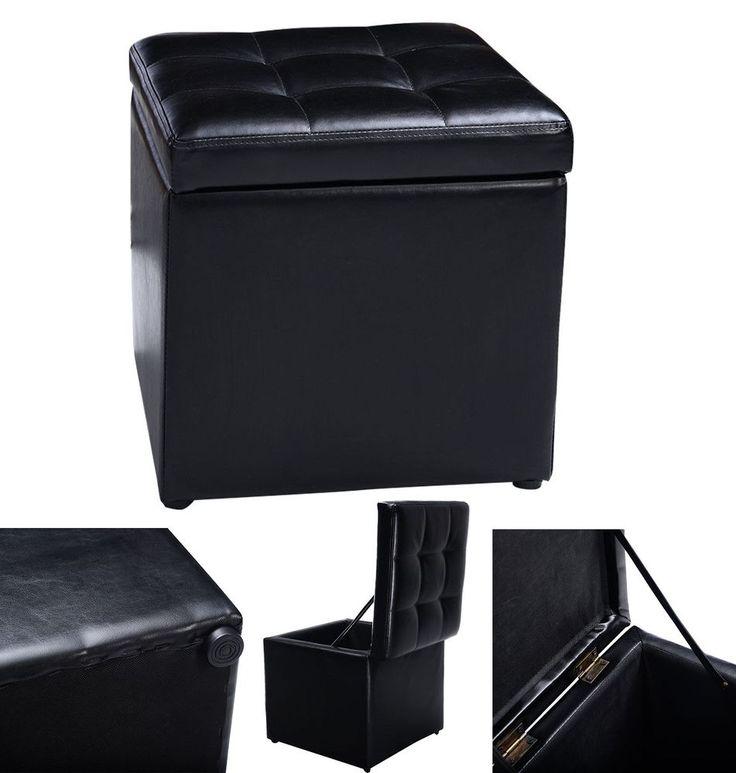 Ottoman Storage Cube Pouffe Box Lounge Leather Seat