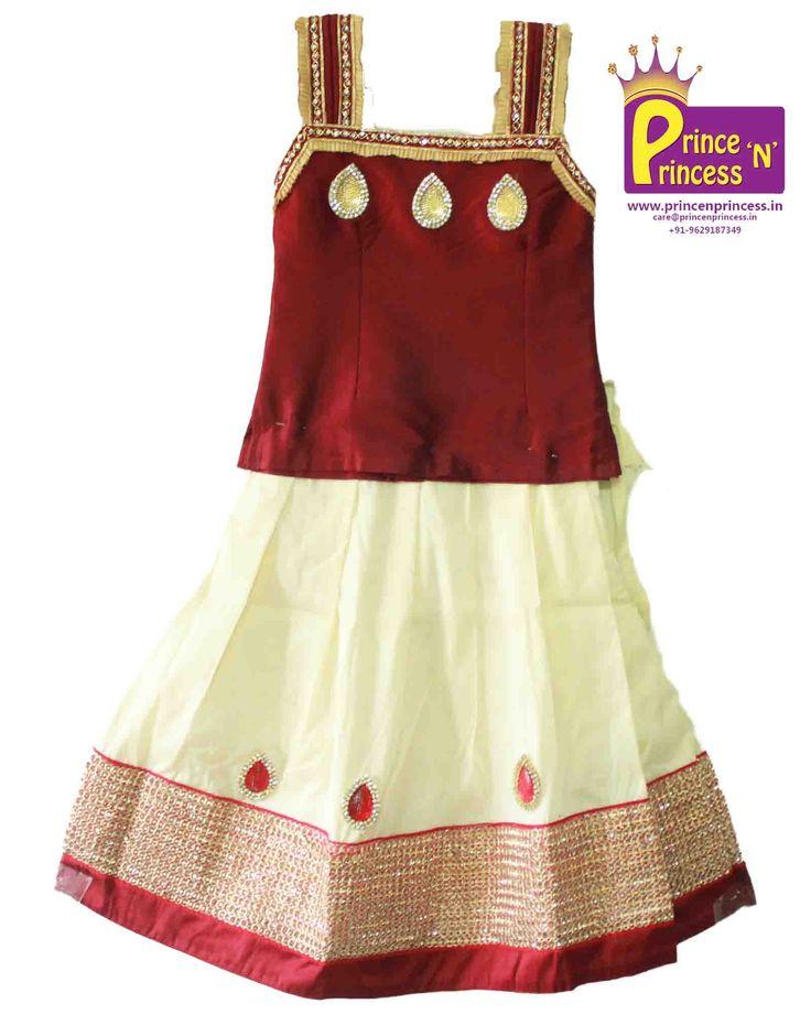 Kids Maroon Off white Designer Trendy Pavadai . Pattu pavadai . Pattu Langa . Kids Traditional Ethnic Pattu Pavadai