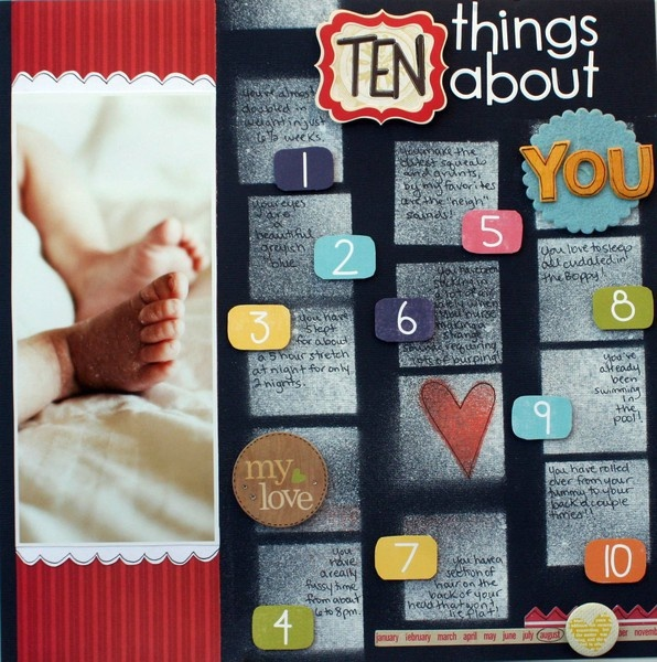 I like the idea of doing a 10 things about you layout for each of my kids every couple of years.