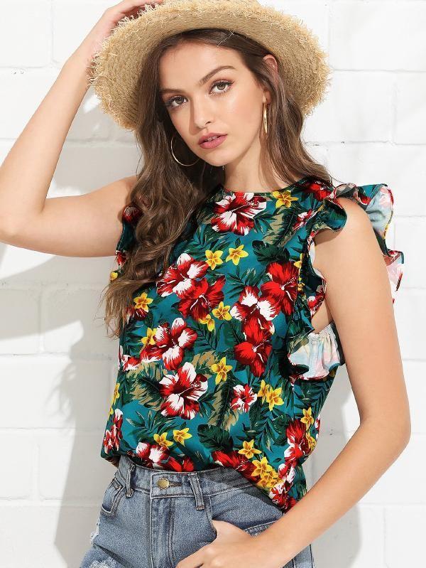 SHEIN Ruffle Armhole Tropical Top   Simple kurta designs, Tropical top, Simple outfits