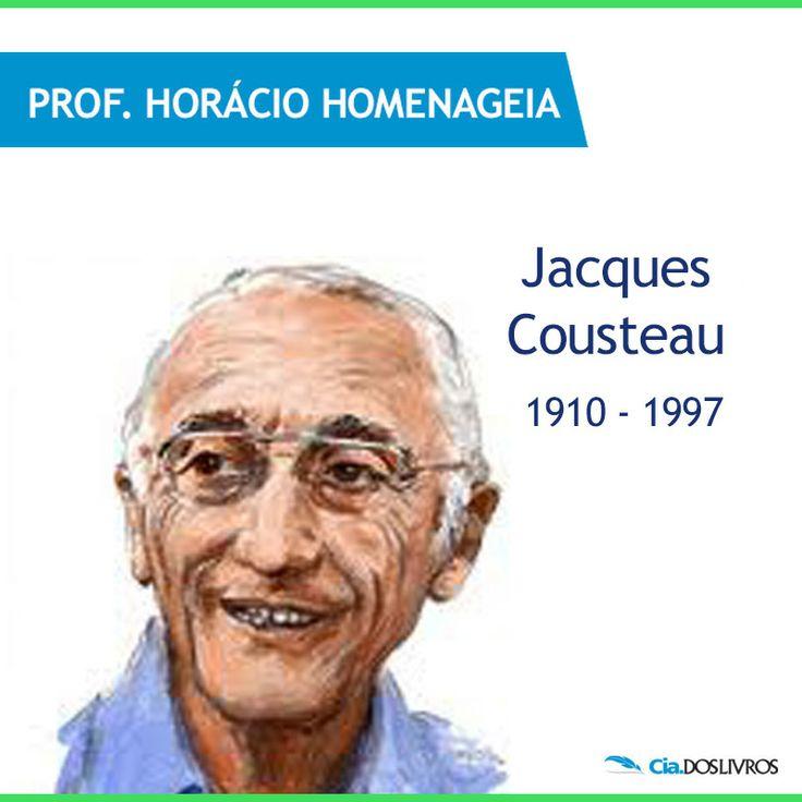 """#ProfHoraciohomenageia um oficial da marinha francesa, documentarista, cineasta e oceanógrafo conhecido por suas viagens de pesquisa, a bordo do Calypso: Jacques-Yves Cousteau! :-D Foi um dos inventores do """"Aqualung"""", o equipamento de mergulho autônomo. Conquistou o Oscar em 1956 com o documentário """"O mundo silencioso"""". Compreendeu, descreveu e previu vários processos que ocorrem através da Oceanografia. Um amante das águas! ;-)"""