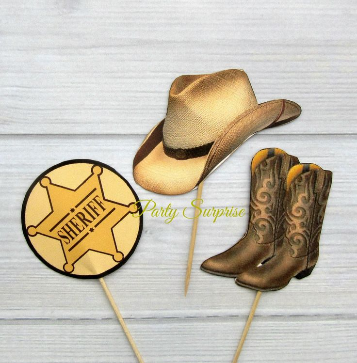 Cowboy Sheriff Cupcake Toppers Sheriff Badge Cowboy Boots Cowboy Hats Cowboy Police Party Cupcake Toppers