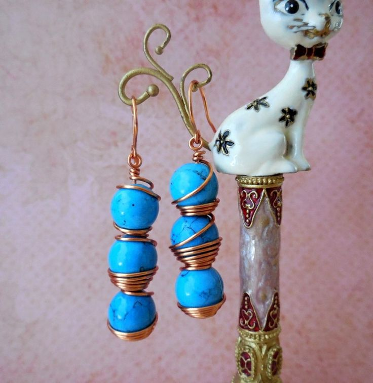 copper wrapped semi precious turquoise earrings; copper earwires; www.stores.ebay.com.au/casa-di-gata-house-of-cats