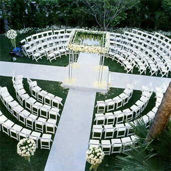 Wedding Ceremony Seating, circular shape with aisle crossing