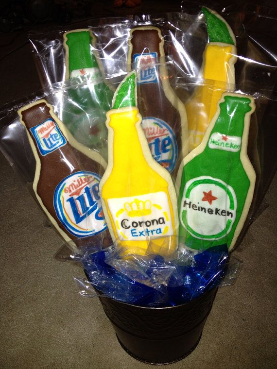 Beer cookies, beer gift basket, Birthday cookies, Gift for Dad, Beer Six Pack, Cookie Bouquet