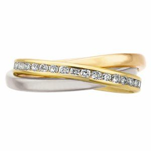 """White, rose and yellow gold interlocking """"rolling ring"""" with diamonds. By Memoire ®"""