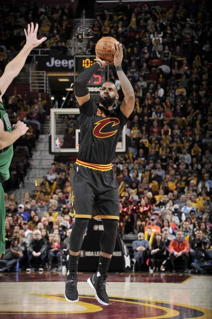LeBron James #23 of the Cleveland Cavaliers shoots the ball during a game against the Boston Celtics on December 29, 2016 at Quicken Loans Arena in Cleveland, Ohio.