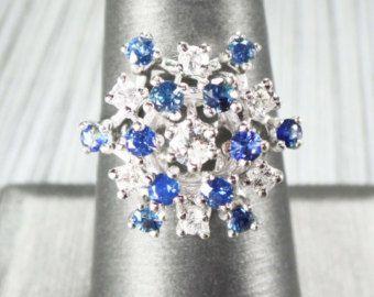 Anillo zafiro  hecho a mano cojín de corte zafiro azul y | Etsy