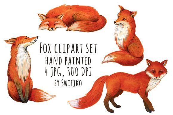 Fox illustration, watercolor clipart by swiejko on Creative Market